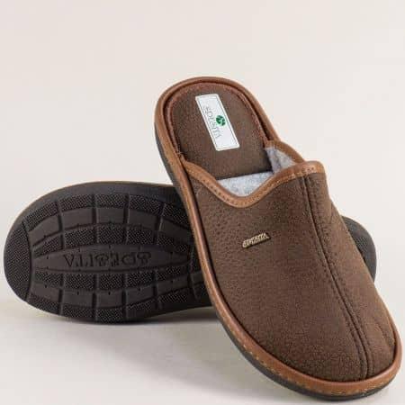 Мъжки домашни чехли в тъмно кафяво- SPESITA 643-45kk