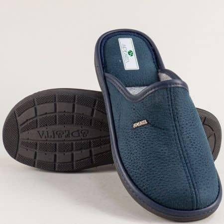 Мъжки домашни чехли в тъмно син цвят- SPESITA 643-45s