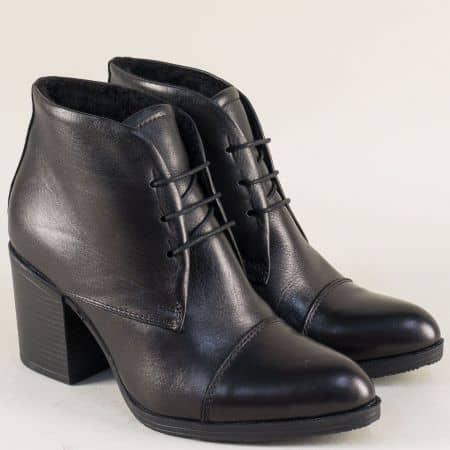Дамски боти на висок ток от естествена кожа в черен цвят 645ch