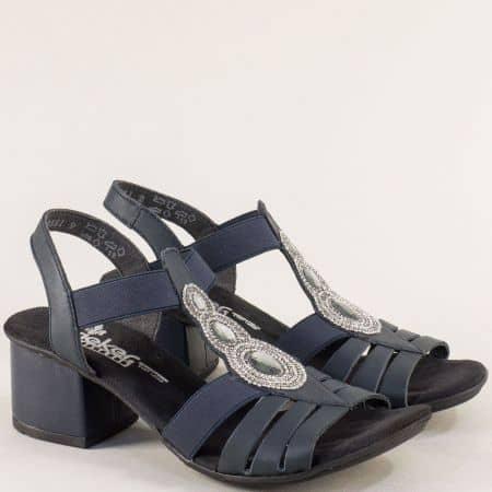 Кожени дамски сандали на среден ток в син цвят- Rieker 64660s