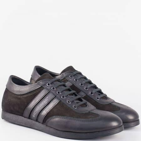 Удобни мъжки обувки с връзки от черна естествена кожа и набук 64ch