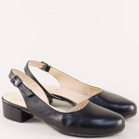 Черни дамски сандали със затворени пръсти на нисък ток 650130ch
