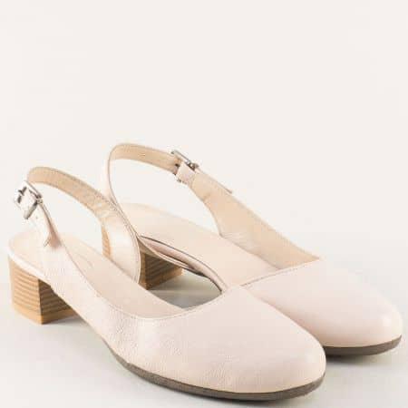 Розови дамски сандали с кожена стелка и нисък ток 650130rz