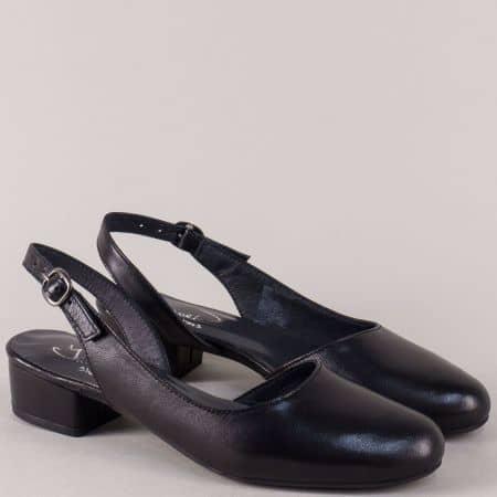 Кожени дамски обувки с отворена пета в черен цвят 65013ch