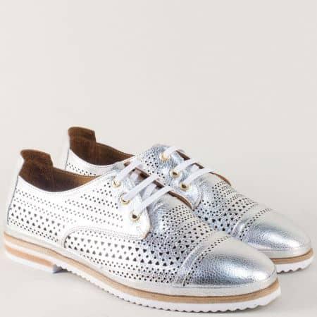 Сребърни дамски обувки с връзки и кожена стелка 650140sr