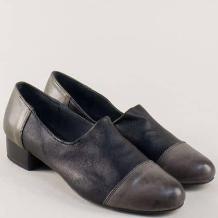 Кожени дамски обувки на нисък ток в зелено и черно 6501chz