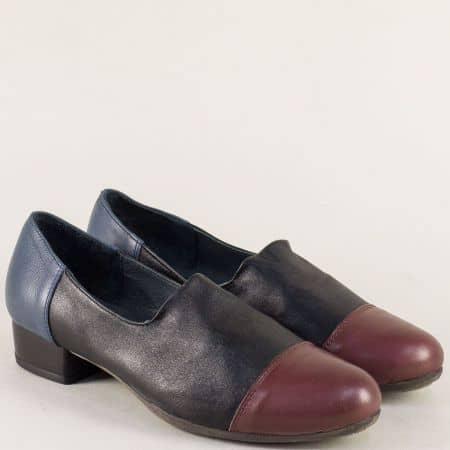 Дамски обувки в бордо, синьо и черно с кожена стелка 6501ps