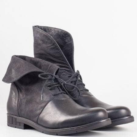 Дамски ежедневни боти от 100% естествена кожа на известен български производител в черен цвят 6517ch