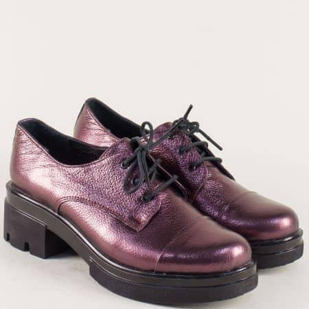 Дамски обувки с перлен блясък в цвят бордо на нисък ток 6518710bd