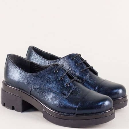 Сини дамски обувки на нисък ток от естествена кожа 6518710s