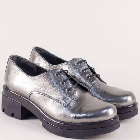 Сребърни дамски обувки на нисък ток от естествена кожа 6518710sr