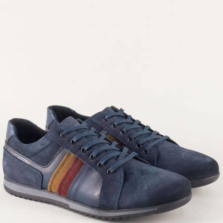 Трицветни мъжки обувки от син естествен набук и кожа 651s