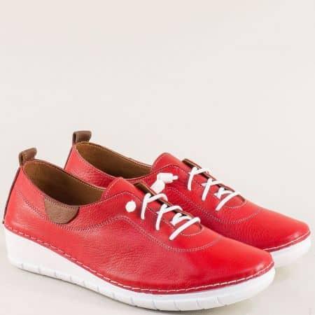 Червени спортни дамски обувки от естествена кожа на клин ходило 65207chv