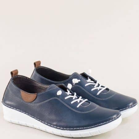 Кожени дамски обувки в син цвят с ластични връзки  65207s