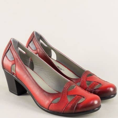 Червени дамски обувки на среден ток от естествена кожа 652chv