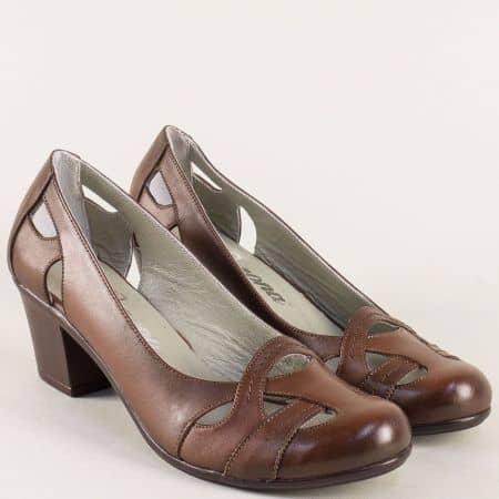 Кафяви дамски обувки от естествена кожа на среден ток 652kk