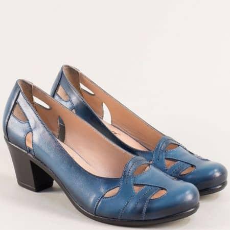 Сини дамски обувки на среден ток от естествена кожа 652s