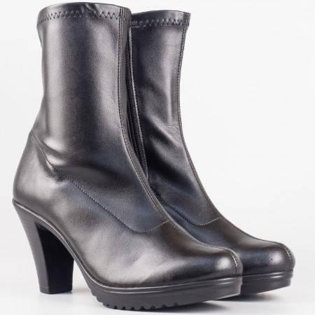 Дамски комфортни боти изработени от стреч кожа на висок ток в черен цвят 65410285ch