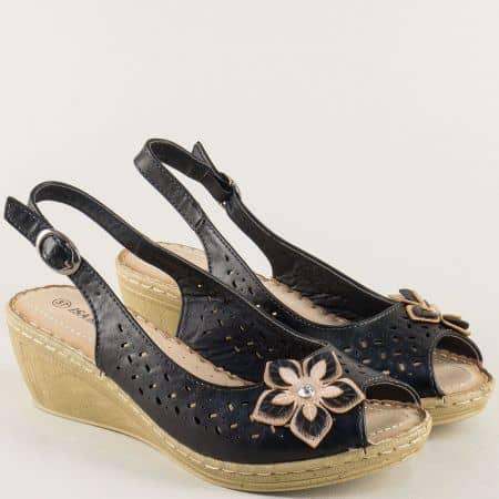 Дамски сандали в черен цвят на клен ходило 6546108ch