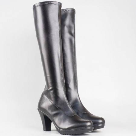 Дамски комфортни ботуши със сая от стреч материал на български производител в черен цвят 65510285ch