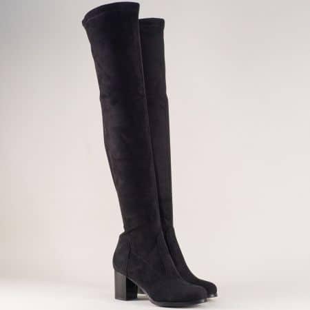 Черни дамски ботуши над коляното на стабилен висок ток 65516vch