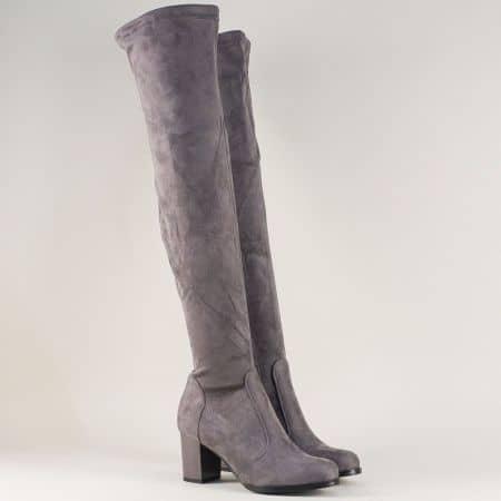 Дамски ботуши над коляното в сив цвят на висок ток 65516vsv