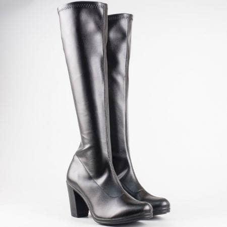 Дамски ботуши от стреч кожа с цип в черен цвят 65536150ch