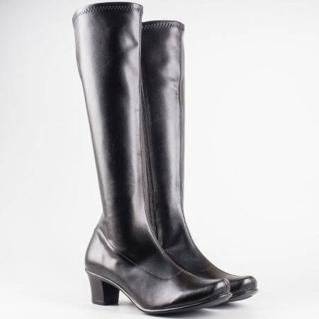 Дамски черен ботуш от стреч материал на български производител в черен цвят 6556160ch