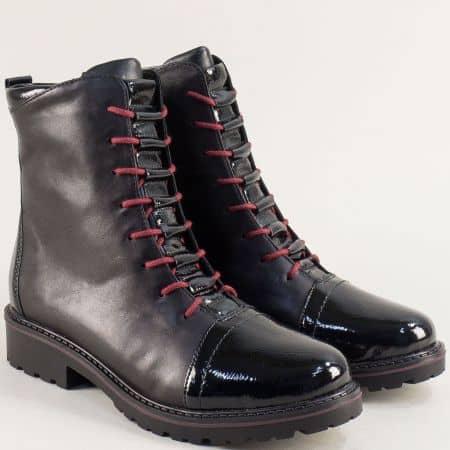 Черни дамски боти от естствен лак и кожа- REMONTE 6574ch