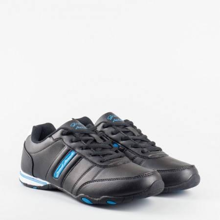 Страхотни дамски маратонки с връзки в черен цвят, с олекотено ходило 6582-40ch