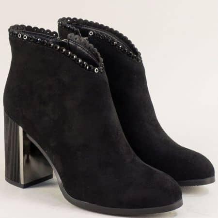 Черни дамски боти със семпла декорация на висок ток  6603165vch