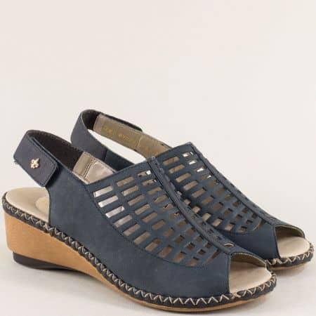 Сини дамски сандали на клин ходило с кожена стелка 66157s
