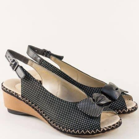Черни дамски сандали на бели точки с кожена стелка 66171ch
