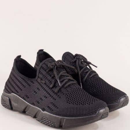Черни дамски обувки от текстилна мрежа 6631753ch