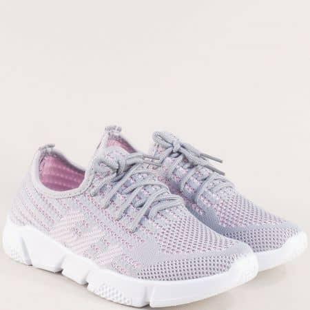 Сиво розови дамски спортни обувки от текстил 6631753sv