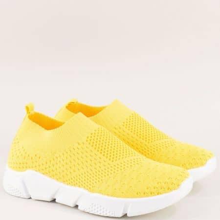 Жълти дамски маратонки на удобно, бяло ходило 6631758j