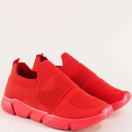 Червени дамски маратонки от текстил 6631801chv