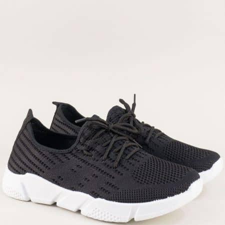 Черни мъжки маратонки с връзки на бяло ходило 6631853chb