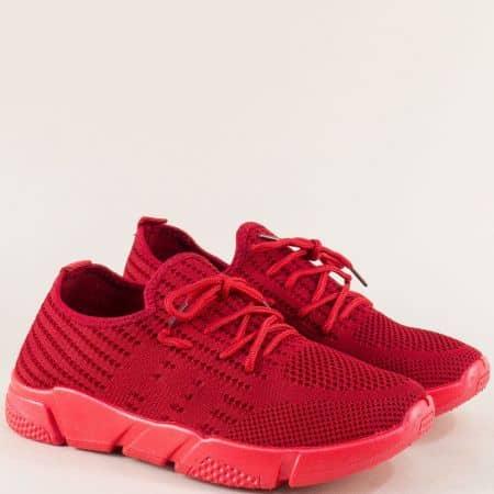 Мъжки маратонки с връзки на удобно ходило в червено 6631853chv