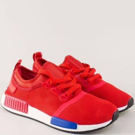 Спортни мъжки обувки в червен цвят на леко ходило 666chv