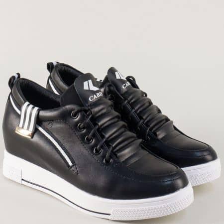 Спортни дамски обувки в черно с връзки на платформа 6662ch
