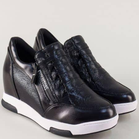 Спортни дамски обувки в черно на платформа 6665ch