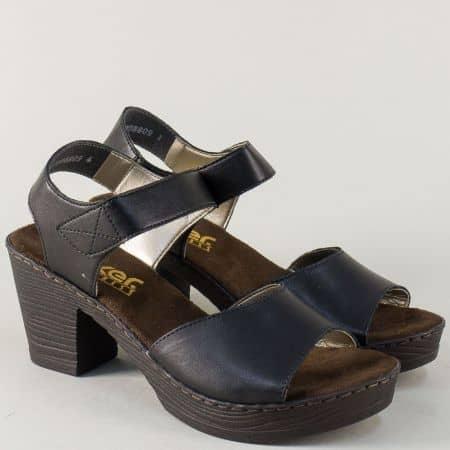 Черни дамски сандали на висок ток и платформа- Rieker 66752ch