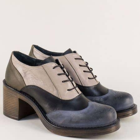 Кожени дамски обувки в бежово, синьо, черно и кафяво 66791chps