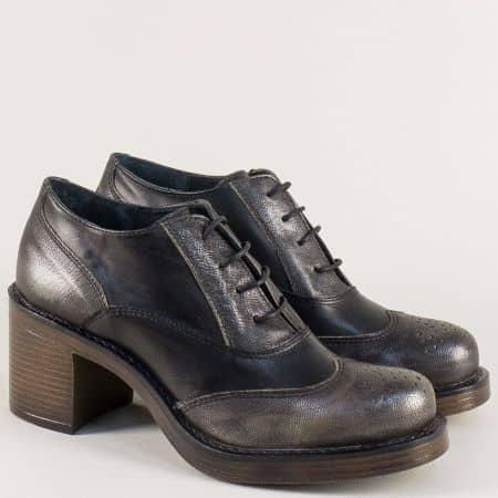 Български дамски обувки с връзки в черно и сребро 66791chsr