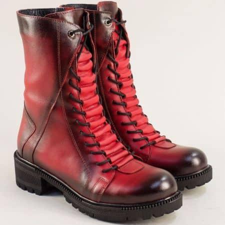 Червени дамски боти на нисък ток от кожа 670chv