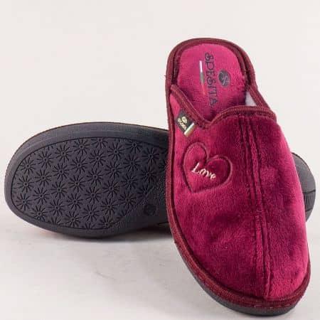 Домашни дамски чехли- SPESITA в цвят бордо 671-40bd