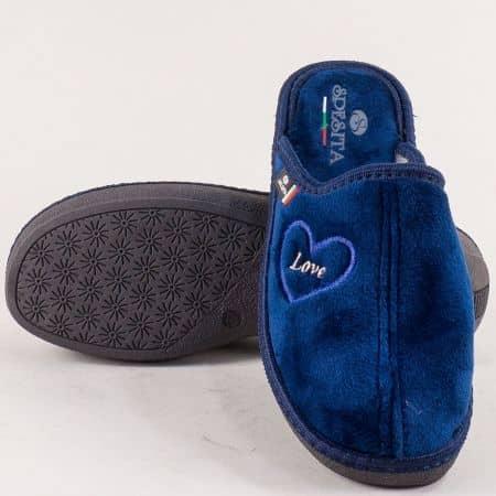Домашни дамски чехли- SPESITA в син цвят 671-40ts