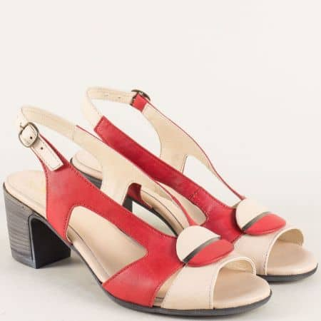 Кожени дамскии сандали на ток в червено и бежово 67131chv