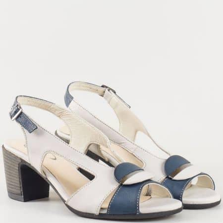 Кожени дамски стилни сандали в синьо и бежово 67131s